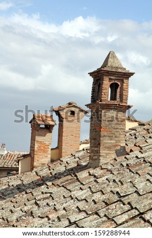 Chimneys in Cortona is a picturesque village in Tuscany Italy