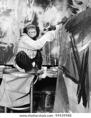 Chimpanzee as an artist - stock photo