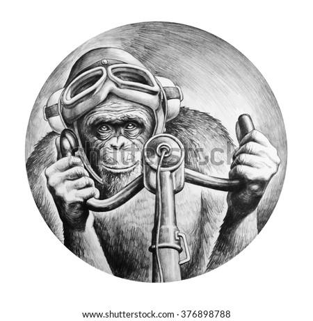 Chimpanzee pilot at the controls of the aircraft. T-shirt design. Pencil drawing illustration. - stock photo