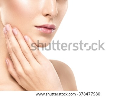 Chin cheeks hand woman touching face lips on white - stock photo