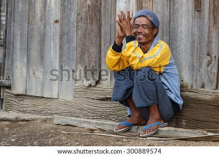 CHIN STATE, MYANMAR - JUNE 22 2015: Local village man in the recently opened for tourists Chin State Mountainous Region, Myanmar (Burma) - stock photo
