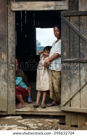 CHIN STATE, MYANMAR - JUNE 22 2015: Local village people in the recently opened for tourists Chin State Mountainous Region, Myanmar (Burma) - stock photo