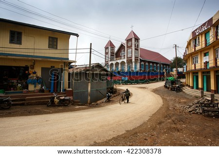 CHIN STATE, MYANMAR - JUNE 18 2015: Town view of Falam in the recently opened for tourists Chin State Mountainous Region, Myanmar (Burma) - stock photo