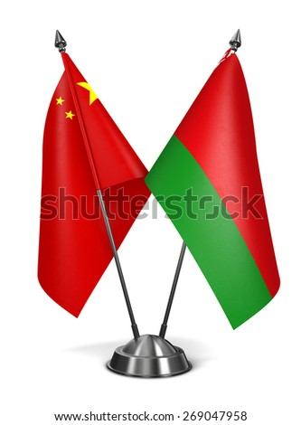 China and Belarus - Miniature Flags Isolated on White Background. - stock photo