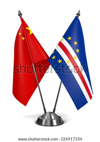 China and Cape Verde - Miniature Flags Isolated on White Background. - stock photo