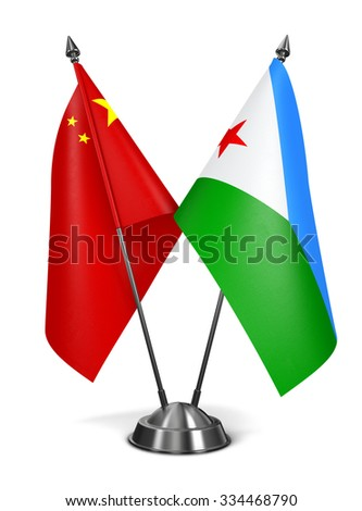 China and Djibouti - Miniature Flags Isolated on White Background. - stock photo