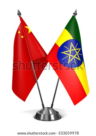 China and Ethiopia - Miniature Flags Isolated on White Background. - stock photo