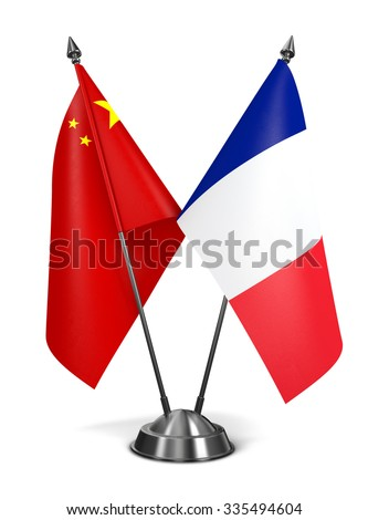 China and France - Miniature Flags Isolated on White Background. - stock photo