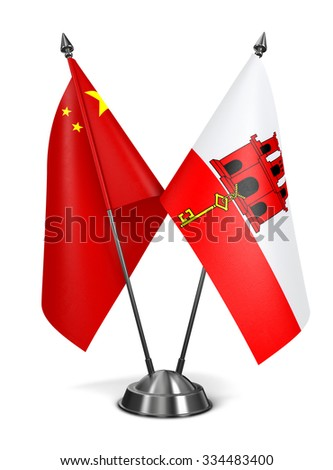 China and Gibraltar - Miniature Flags Isolated on White Background. - stock photo