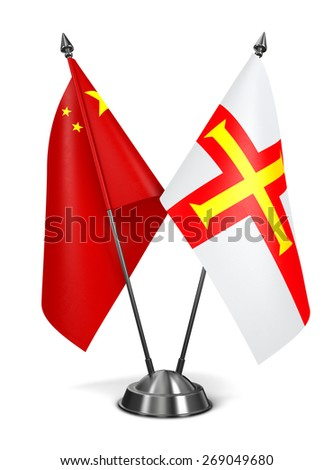 China and Guernsey - Miniature Flags Isolated on White Background. - stock photo