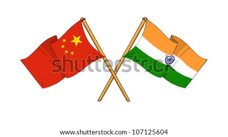 China and India alliance and friendship - stock photo