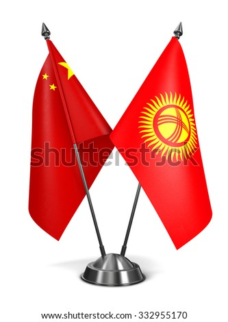 China and Kyrgyzstan - Miniature Flags Isolated on White Background. - stock photo