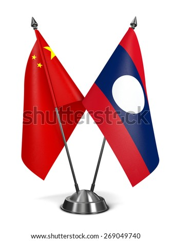 China and Laos - Miniature Flags Isolated on White Background. - stock photo