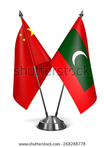 China and Maldives - Miniature Flags Isolated on White Background. - stock photo