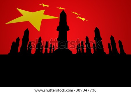 China and missile and the missile China - stock photo