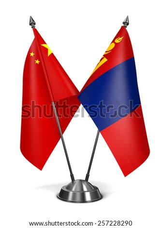China and Mongolia - Miniature Flags Isolated on White Background. - stock photo