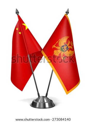 China and Montenegro - Miniature Flags Isolated on White Background. - stock photo