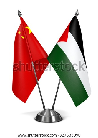 China and Palestine - Miniature Flags Isolated on White Background. - stock photo