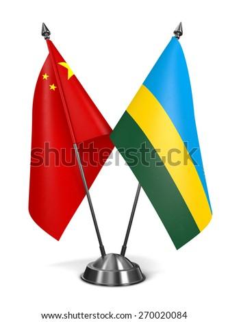 China and Rwanda - Miniature Flags Isolated on White Background. - stock photo