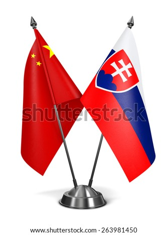 China and Slovakia - Miniature Flags Isolated on White Background. - stock photo
