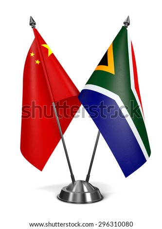 China and South Africa - Miniature Flags Isolated on White Background. - stock photo