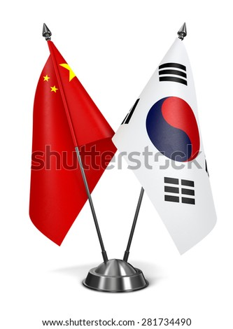 China and South Corea - Miniature Flags Isolated on White Background. - stock photo