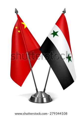 China and Syria - Miniature Flags Isolated on White Background. - stock photo