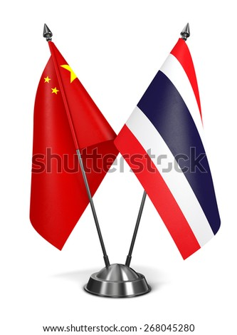 China and Thailand - Miniature Flags Isolated on White Background. - stock photo
