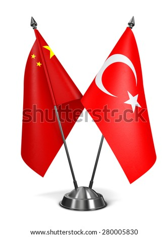 China and Turkey - Miniature Flags Isolated on White Background. - stock photo