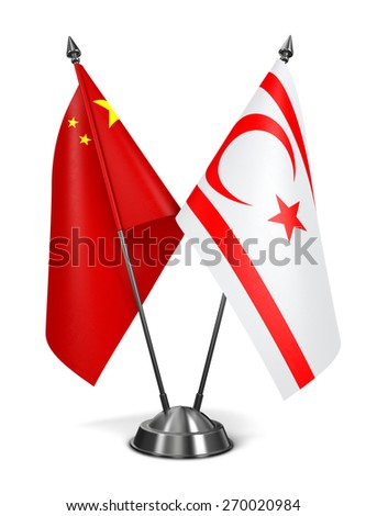 China and Turkish Republic Northern Cyprus - Miniature Flags Isolated on White Background. - stock photo