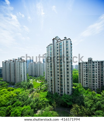 China apartment building at Shanghai, residential buildings in downtown - stock photo