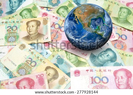 China banknote with planet world. Elements of this image furnished by NASA - stock photo