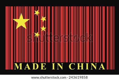 China barcode flag - stock photo