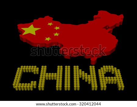 China barrel text with map flag illustration - stock photo