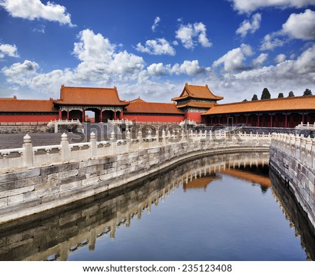 China Beijing ancient Emperor's dynasty Forbidden City national heritage landmark sunny day with palace buildings reflecting in still inner canal waters  - stock photo