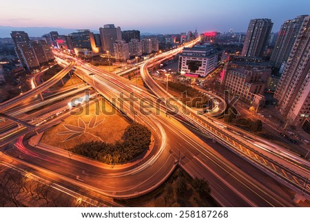 China Beijing overpass after sunset night