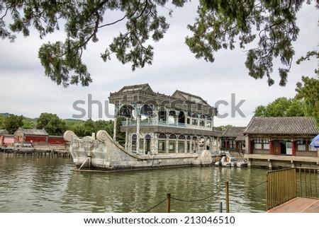 China Beijing Summer Palace boats  - stock photo
