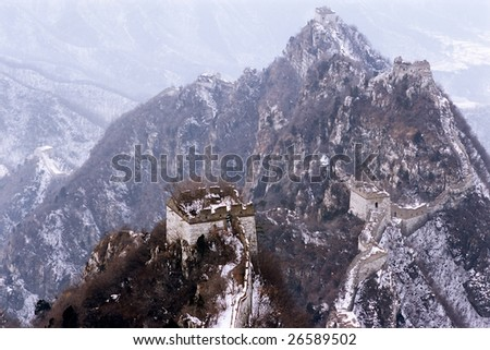China/Beijing: The Great Wall of China in the snow