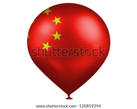 China. Chinese flag  on a balloon - stock photo
