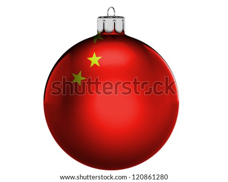 China. Chinese flag  on a Christmas, x-mas toy - stock photo