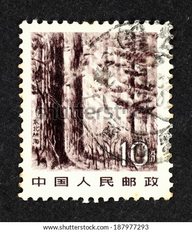 CHINA - CIRCA 1981: Postage stamp printed in China with scenic image of Forest of Northeast.