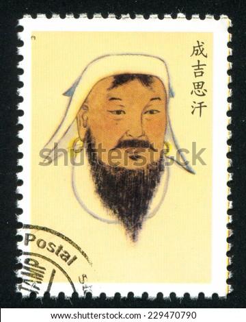 CHINA - CIRCA 2001: stamp printed by China, shows Genghis Khan, circa 2001 - stock photo