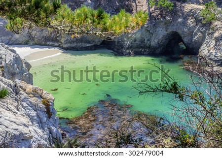 China Cove / Beach in Point Lobos State Natural Reserve, with rock and geological formations along the rugged Big Sur coastline, near Carmel and Monterey, CA. on the California Central Coast. - stock photo