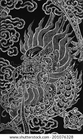 China Dragon on the door at thai temple, black and white - stock photo