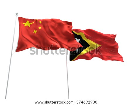 China & East Timor Flags are waving on the isolated white background