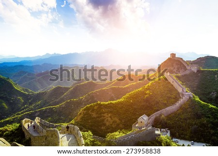 China famous landmark great wall and mountains - stock photo
