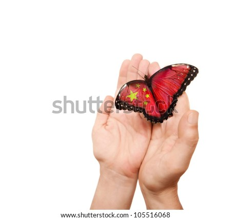 China flag butterfly on a man's hands. - stock photo
