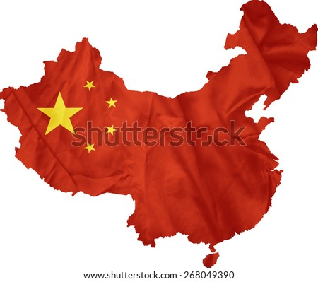 China flag map - stock photo