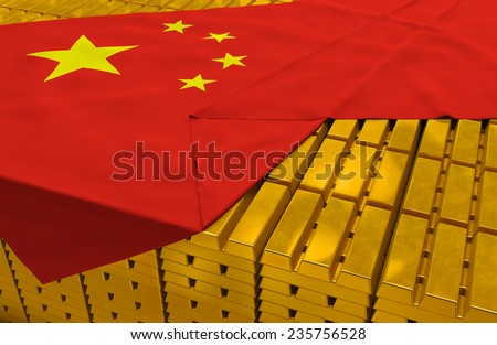China gold reserve stock: golden bars (ingots) are covered with chinese flag in the storage (treasury) as symbol of national gold and foreign currency reserves, financial health, economic growth - stock photo