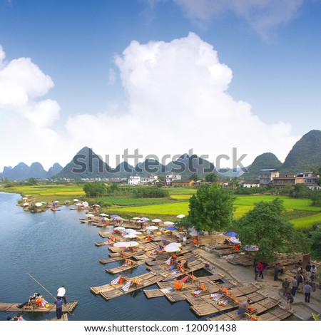 China Guilin landscape raft